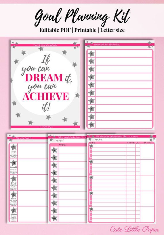 Goal Setting Sheets Printable Template Editable Pdf Etsy Smart Goals Template Goal Setting Sheet Goals Worksheet