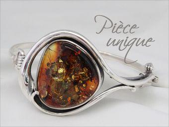 bracelet-ambre-v&eacuteritable-argent-925,cabochon, inclusions, monture baroque