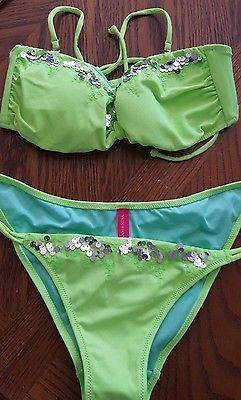 Victoria Secret Lime Green Sequin 2 Piece Bikini Side Ties