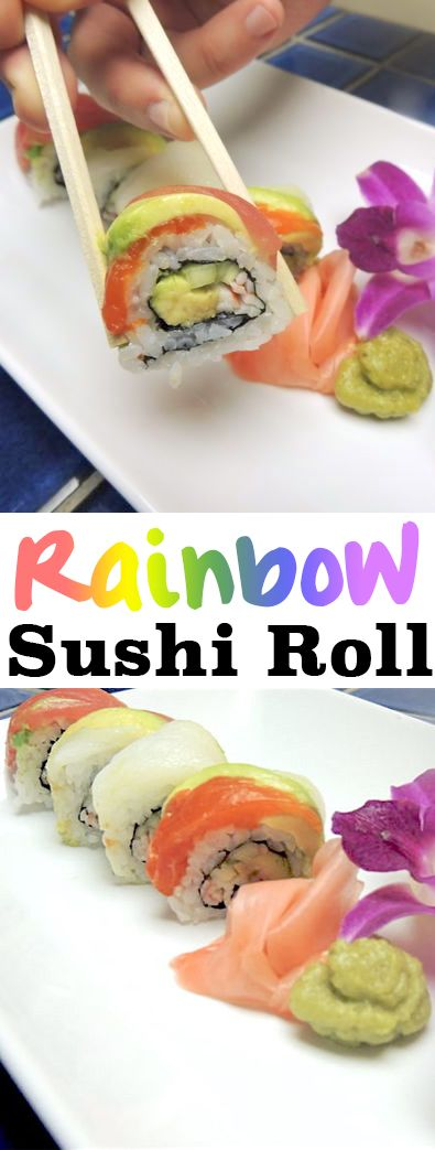 Rainbow Rolls are one of the most popular sushi rolls available. The inside is merely a California Roll, and no, there aren't any crazy fish used. But, it's marbled and layered topping of assorted fish and avocado make this roll perfectly divine.