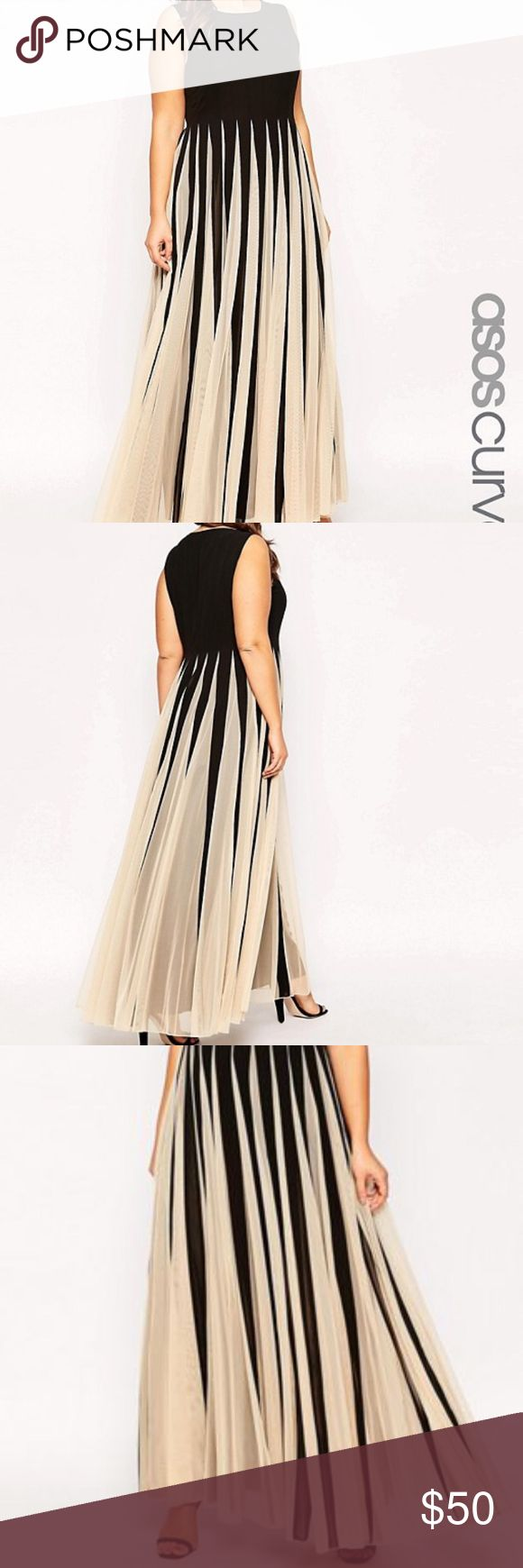 ASOS evening gown ASOS black and beige evening gown. Worn once but never dry cleaned, does have a few small stains that will be removed when dry cleaned. Price reflects the stains. Otherwise in great condition. ASOS Dresses