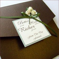 Pocketfold Wedding Invitation Finished With Three Paper Roses And A Satin  Ribbon Bow.