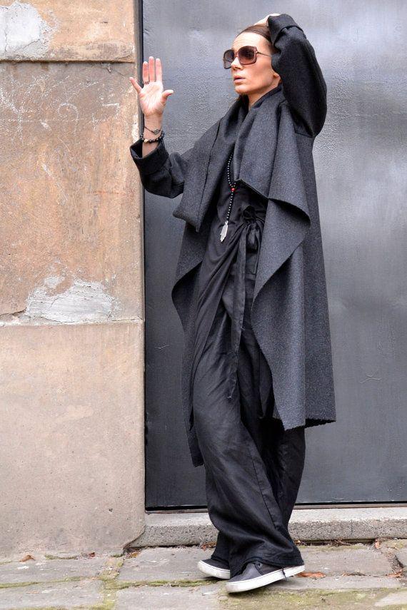 Dark Grey Casha Coat / Long Sleeves / Casha/ Wool High Collar Jacket on Etsy, $129.00