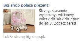 Przykładowa kreacja reklamowa na Facebooka dla sklepu internetowego Big-shop.
