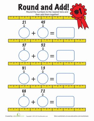 Second Grade Rounding & Estimation Addition Worksheets: Estimating Sums