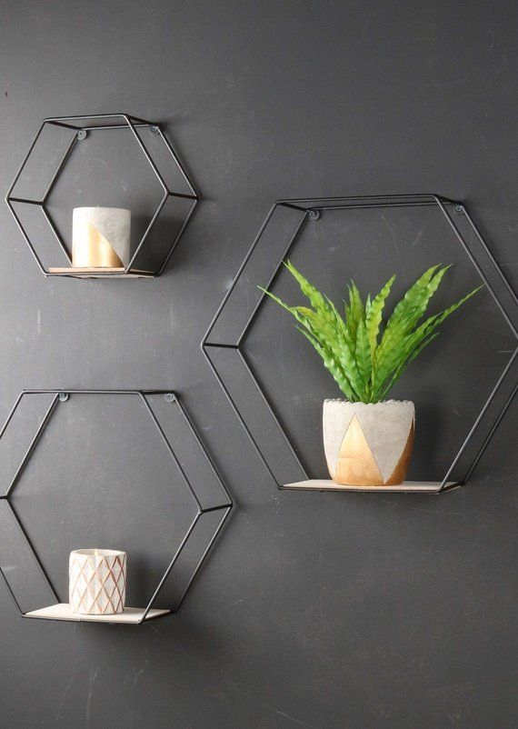 Set Of 3 Geometric Industrial Shelves Hexagonal Metal And
