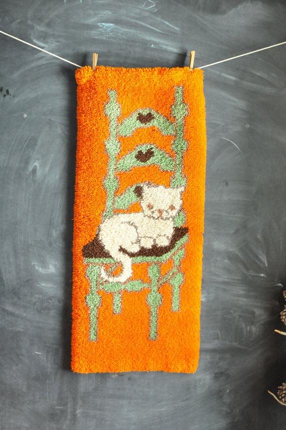 Vintage Handmade Latch Hook Rug Wall Hanging Kitten On