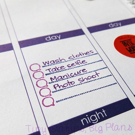 Check list stamp set for planners and journals. Make to do lists and other lists. These stamps were designed to fit the small spaces in a