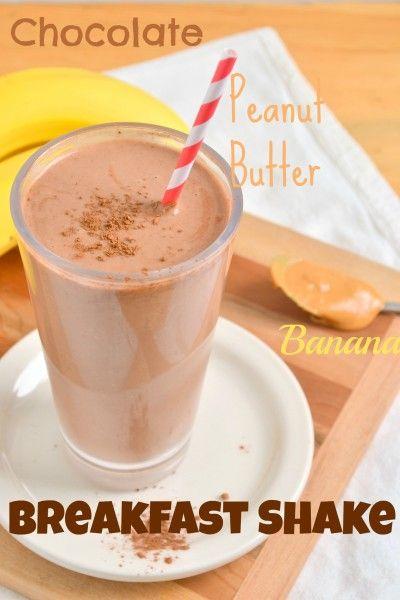 Chocolate Peanut Butter Banana Breakfast Shake: banana, natural pb, cocoa powder, oatmeal, almond milk (add honey, spinach, protein powder)