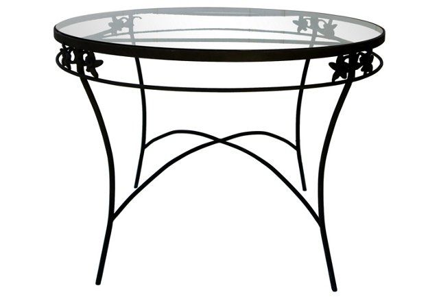 Midcentury Iron & Glass Table