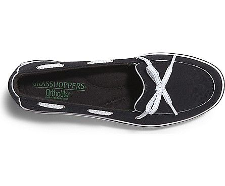 My new favorite all purpose black canvas shoe. So comfortable and I can wear it with just about everything.   Grasshoppers Ortholite Windham Boat Shoe