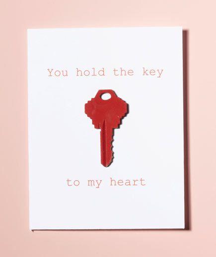 tarjeta de San Valentín original  con una llave pintada #valentines #gifts #cards #tarjetas #amor #love #regalos #sanvalentin #couple #crafts #manualidades #diy #ideas