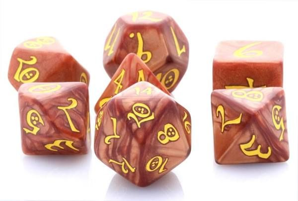 Elven Dice (Classic Caramel). Elven dice are ready for your greatest RPG adventures. Get ready to roll with these awesome role playing dice.