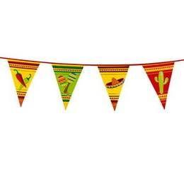 Een plastic vlaggenlijn in Mexicaanse stijl. Lengte: 6 meter. themafeesten mexicaans