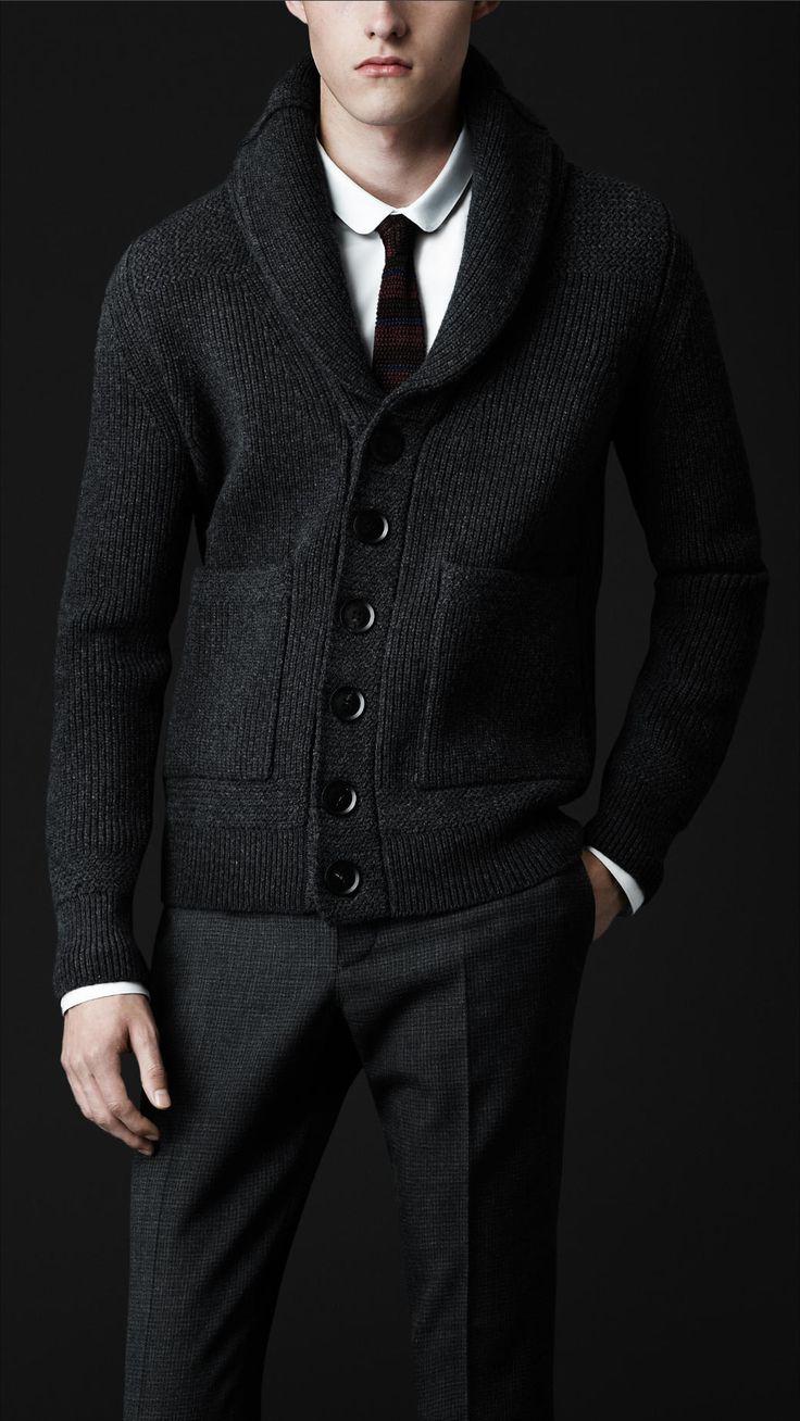 Charcoal Grey Shawl Collar Knit Jacket, Men's Fall Winter Fashion.