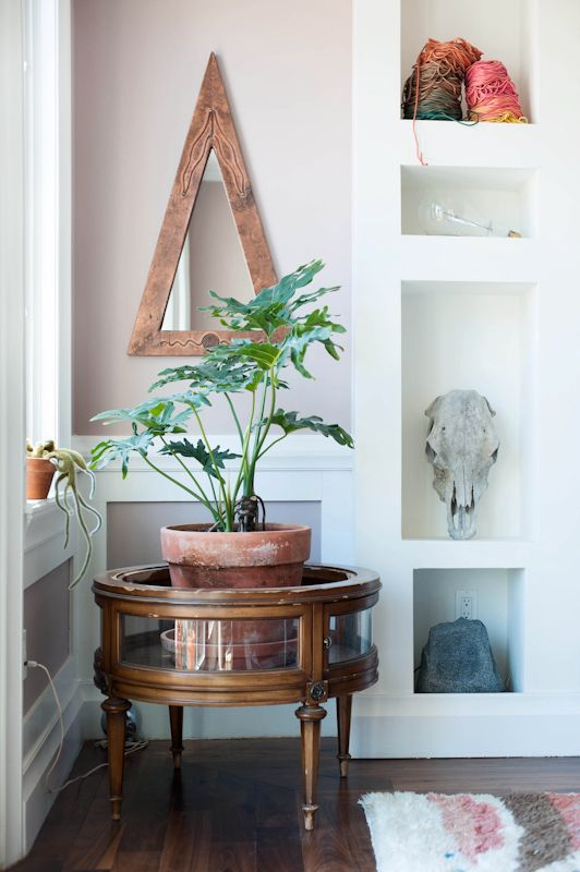 Side table turned plant stand. #mirror #triangle #triangolare #specchio
