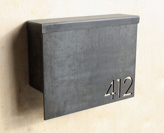 MB1 - MODERN MAILBOX WITH ADDRESS PLAQUE. $275.00, VIA ETSY.