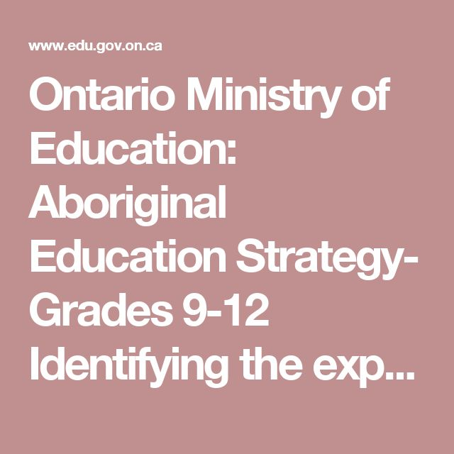 Ontario Ministry of Education: Aboriginal Education Strategy- Grades 9-12 Identifying the expecations in the secondary curriculum to bring Indigenous persepctives into the classroom.