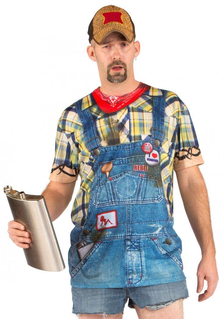 T-Shirt salopette en jean adulte : Ce t-shirt à manches courtes est pour adulte (flasque et casquette non inclus).Il est imprimé pour représenter une chemise et une salopette tachée avec un bandana et de...