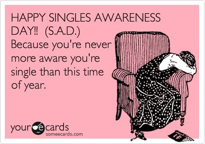 Happy singles awareness day (S.A.D)...valentines day is stupid anyway
