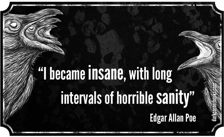 """I became insane, with long intervals of horrible sanity."" -Edgar Allan Poe - Imgur"