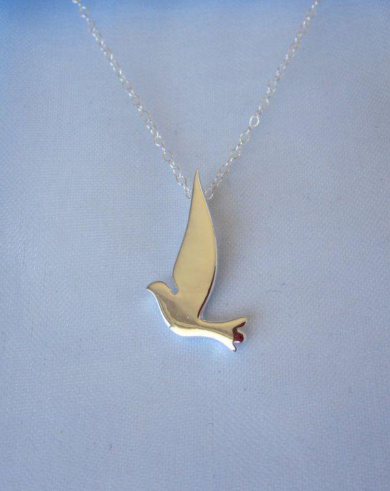 """Confirmation - 925 Sterling Silver DOVE BIRD pendant and sterling silver 16"""" necklace chain, organic, nature, woodland jewelry"""