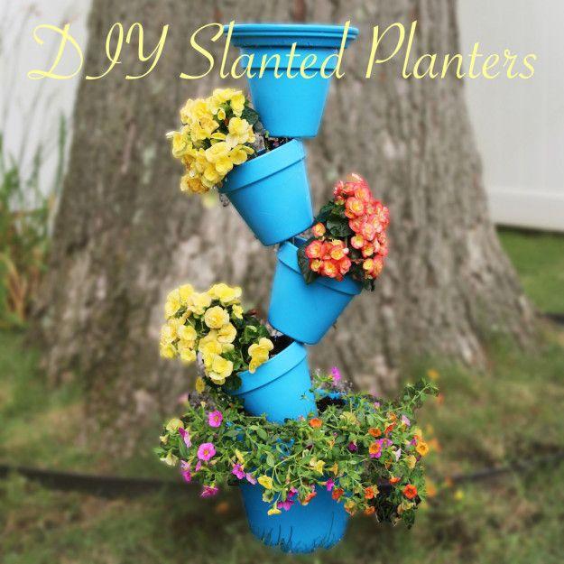 DIY Slanted Planters