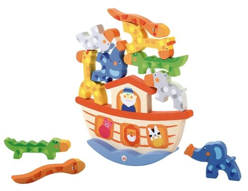 Noah's Ark Balance Wooden Toy. There are hours of fun to be had with this beautifully crafted Noah's Ark Balance Toy from Sevi A rocking wooden Noah's Ark provides the wobbly setting to try and balance all of the animals. A steady hand is required to balance all ten wooden animals! This game is fun for children and adults alike and really will get your hands and brains working.
