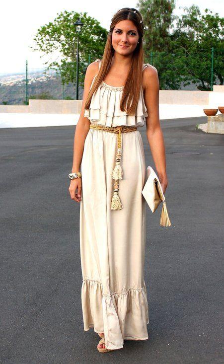 vestido largo blanco de día