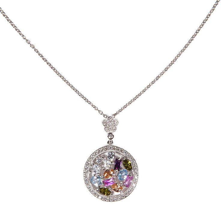 #Collana in argento con pendente zirconi multicolor  Silver #necklace with multicolor zirconia pendant  #Fashion #Jewel #Ultimaedizione #madeinitaly