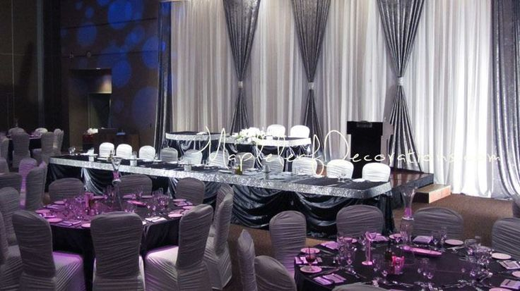 Paramount Banquet Hall Pewter Bling Sparkly Modern Backdrop Headtable Chair Covers Spandex Mesh