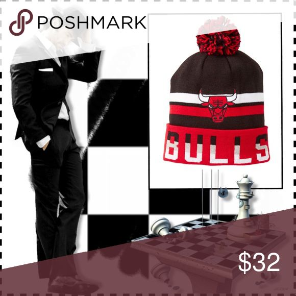 Mitchell & Ness Chicago Bulls Striped Pom Beanie 👊🏾Sumtimes...You Got 2 Switch It Up Dude👊🏾 Red, Black & White in color; knit construction; pom pom accent; striped detail; team logo patch detail; foldover cuff team name detail; 100% acryllic. Eye-It...Buy-It! Mitchell & Ness Accessories Hats