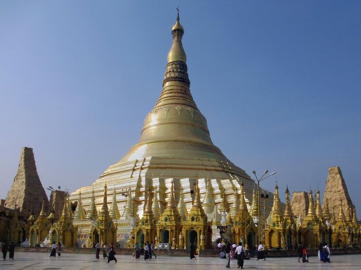 The Shwedagon Pagoda in Yangon, Myanmar (Burma), was founded 2600 years ago when two brothers brought back eight strands of hair gifted to them by the Buddha himself. Rebuilt many times, it now soars 99 meters above its platform.