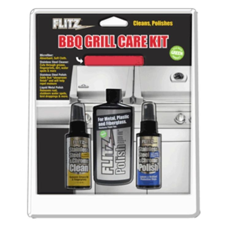 Flitz BBQ Grill Care Kit w-Liquid Metal Polish, Stainless Steel Cleaner, Stainless Steel Polish & Microfiber Cloth