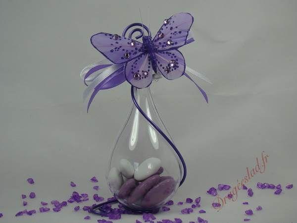 Goutte dragees papillon lilas , Vente contenants dragées mariage originaux– Dragéeslad.