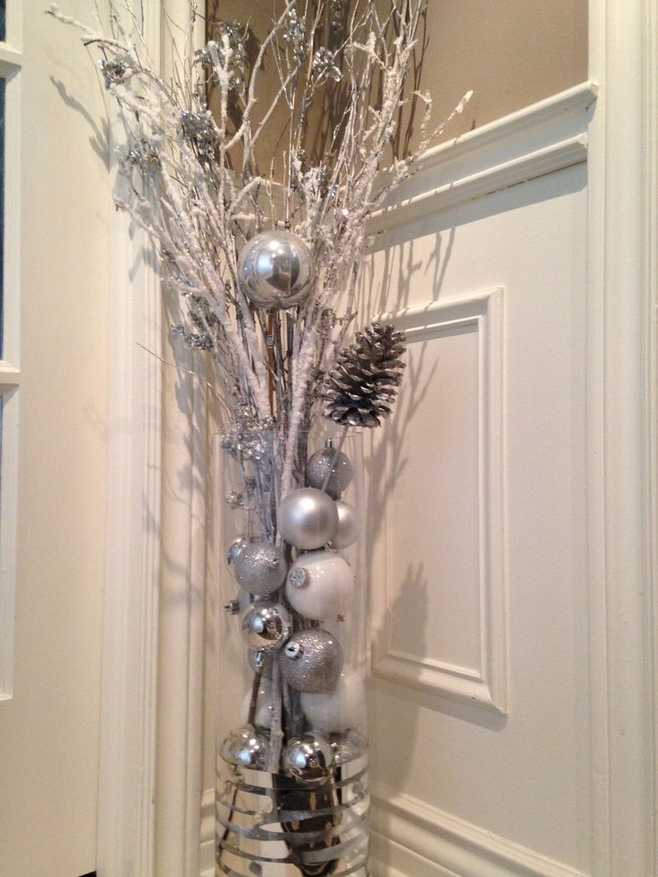 Simple Christmas Décor with glass vase, assorted ball ornaments and twigs!