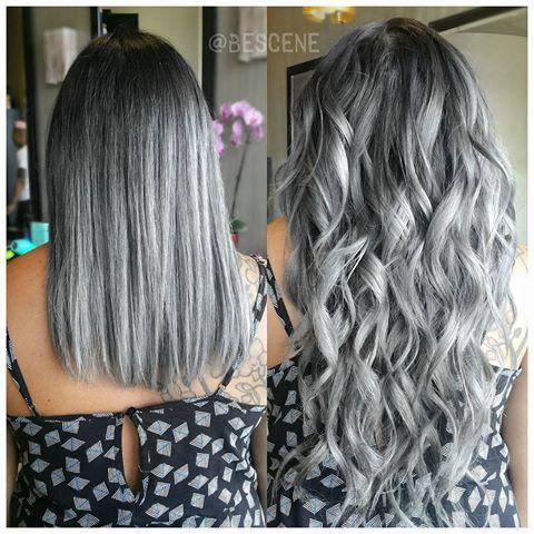 """Steel Grey OMBRE w / Custom kleur afgestemd @Bellamihair @lillyghalichi 260g 20 """"extensies! Voor de grijze gebruikte ik @Schwarzkopfusa 9.5-22,0-22,0-33 7vol. Aan de basis gebruikte ik 4-13,0-33 7vol . #bellami extensies in de lichtste ash blonde zijn perfect voor zilver of grijs kleuraanpassing! gestyled door mijn assistent @chelraerae 👌 # BESCENE #lillyhair #teambellami #bellamihair"""