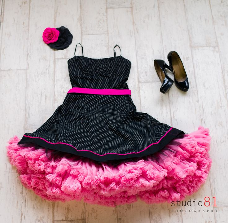Black and White Polka Dot Dress with Pink Trim, (Size 6-8), Pink Petticoat, Black Patent Heels, Pink and Black Flower Hairclips