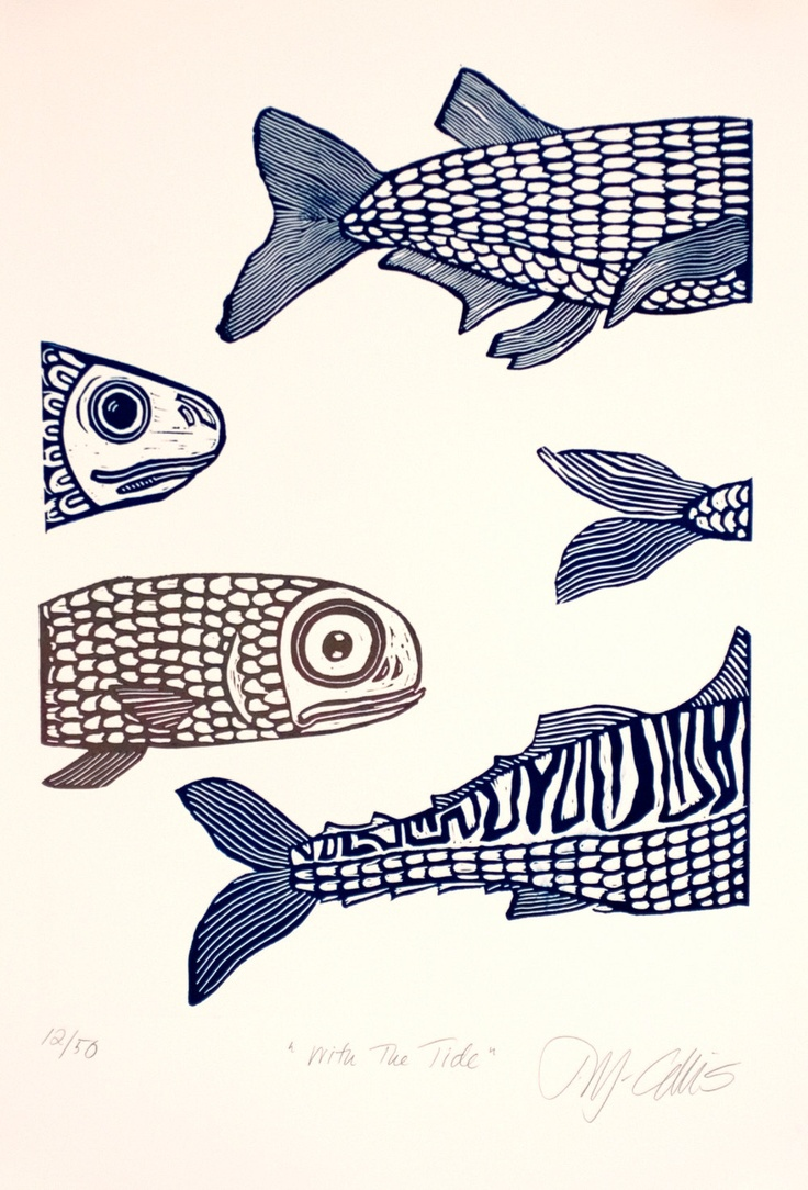 linocut print With the tide fish in blue and beige by artcanbefun