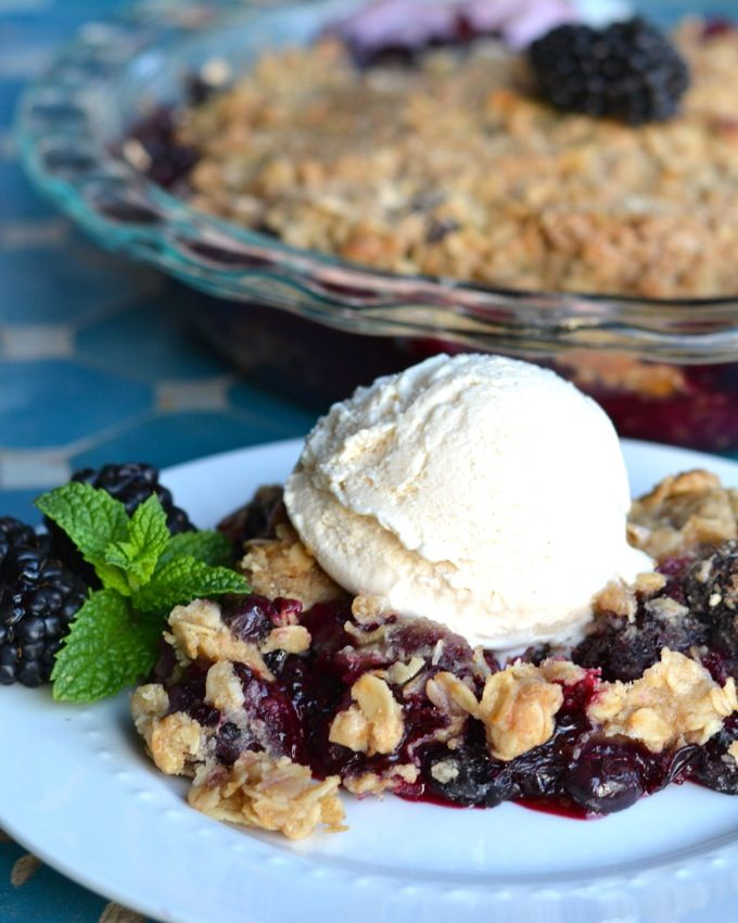 This classic summer blackberry crisp is topped with a toasty oatmeal crumble and loaded with brown sugar and cinnamon to tame the tangy berries. Best served with a big scoop of vanilla ice cream!
