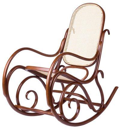Mecedora BJ   Clásica silla mecedora en madera de haya curvada, con asiento y respaldo en junco. Piezas torneadas. Terminación lacada con poliuretano para alto tráfico.  Producto importado desde Europa.