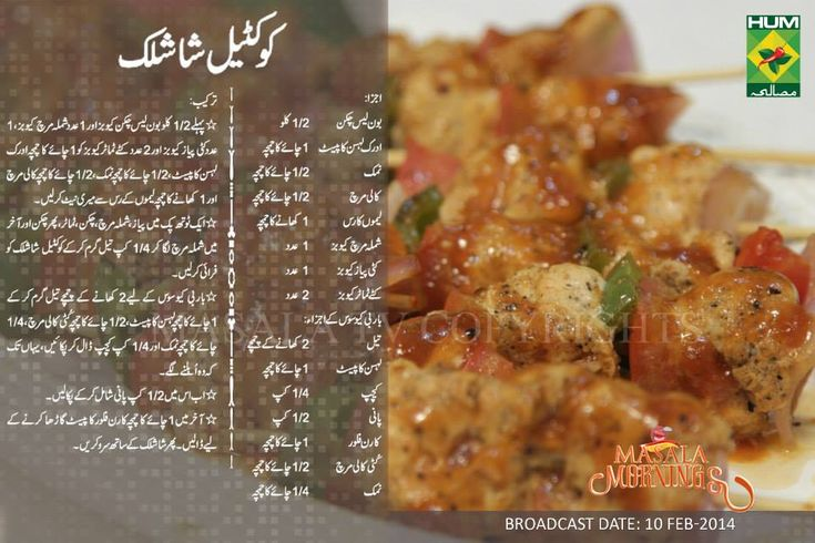 Cocktail shashlik Recipe in Urdu, English by Masala Mornings | LadiesPK.Net