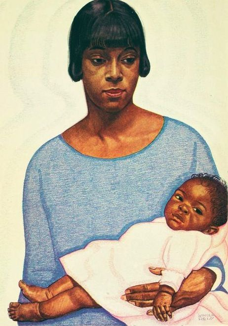 The Brown Madonna, portrait by Winold Reiss.  Winold Reiss was a German immigrant who came to fame for his illustrations and cover designs during the Harlem Renaissance. He taught and mentored artist Aaron Douglas, and his work appeared on Harlem Renaissance-era book and magazine covers. His illustrations for the book The New Negro, edited by Alain Locke in 1925, were very influential. More information on Winold Reiss here: http://www.winoldreiss.org/index.htm