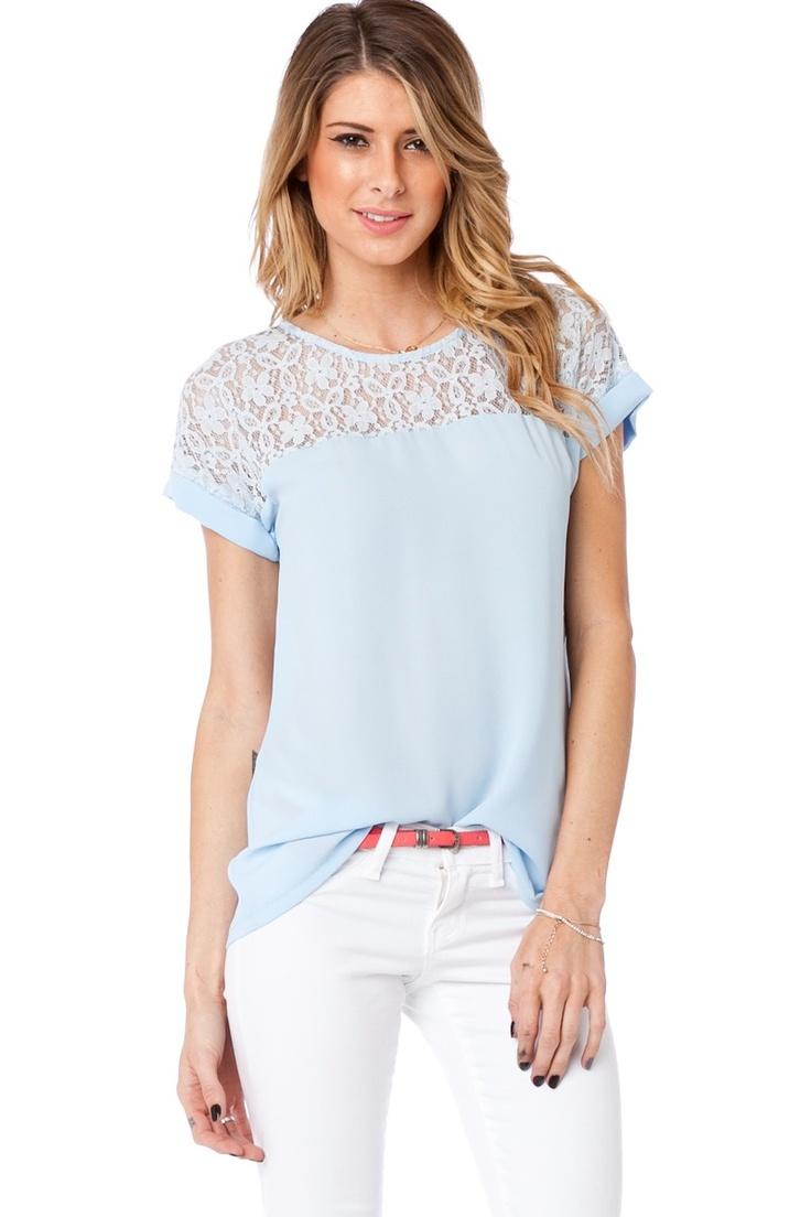 ShopSosie Style : Shailene Top in Powder Blue