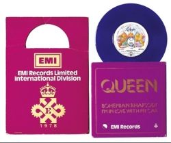 Queen, 'Bohemian Rhapsody/I'm In Love With My Car', 7 Inch Single, 1978. This EMI in-house special edition of the single doubled as an invite to a company event, and so came with goodies including matches, pen, ticket, menu, outer card sleeve, scarf and EMI goblets in card box.