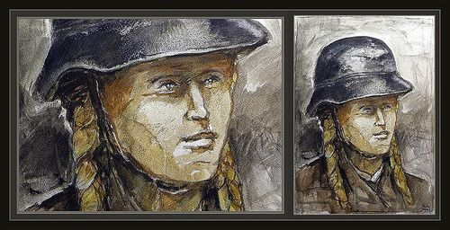 LUFTSCHUTZ-WW2-WOMEN-GERMANY-ARTWORK-PAINTINGS-HELMET-MUJERES-ALEMANIA-CASCO-PINTURA-SEGUNDA GERRA MUNDIAL-PINTOR-ERNEST DESCALS