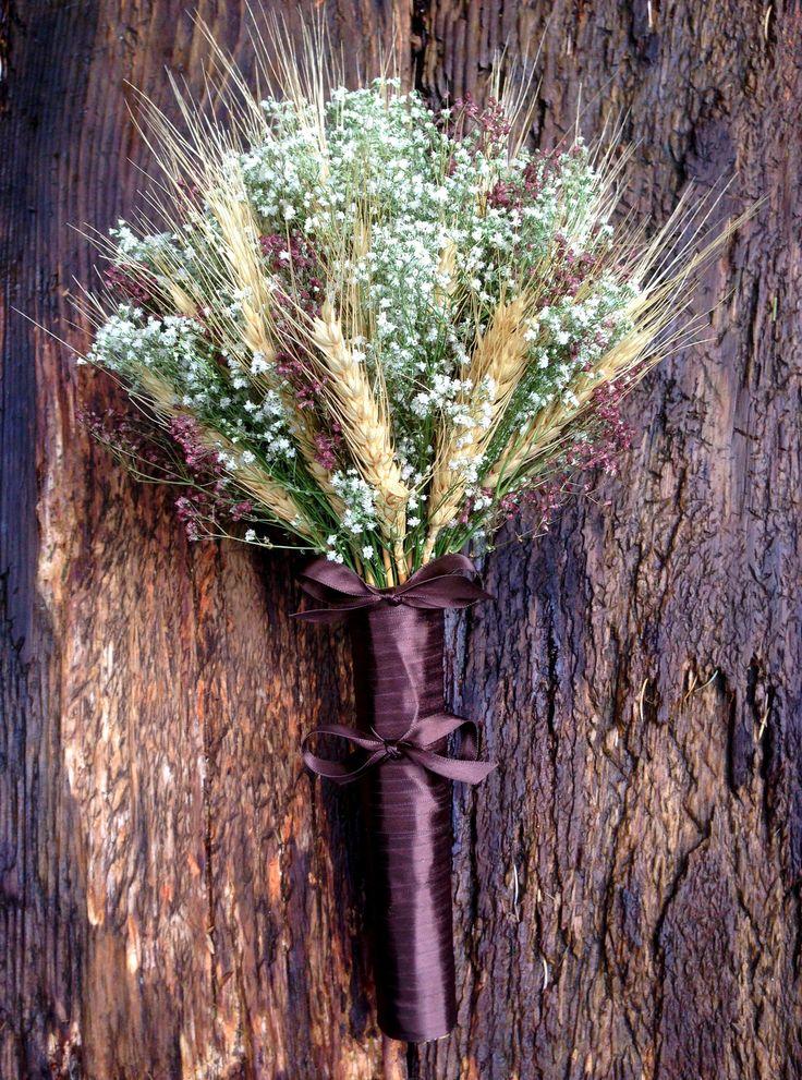 Simple Marsala Wheat and Baby's Breath Bridal Bouquet - Dried Wedding Bouquet - Wheat & Baby's Breath by SeasonalBounty on Etsy https://www.etsy.com/listing/476833249/simple-marsala-wheat-and-babys-breath