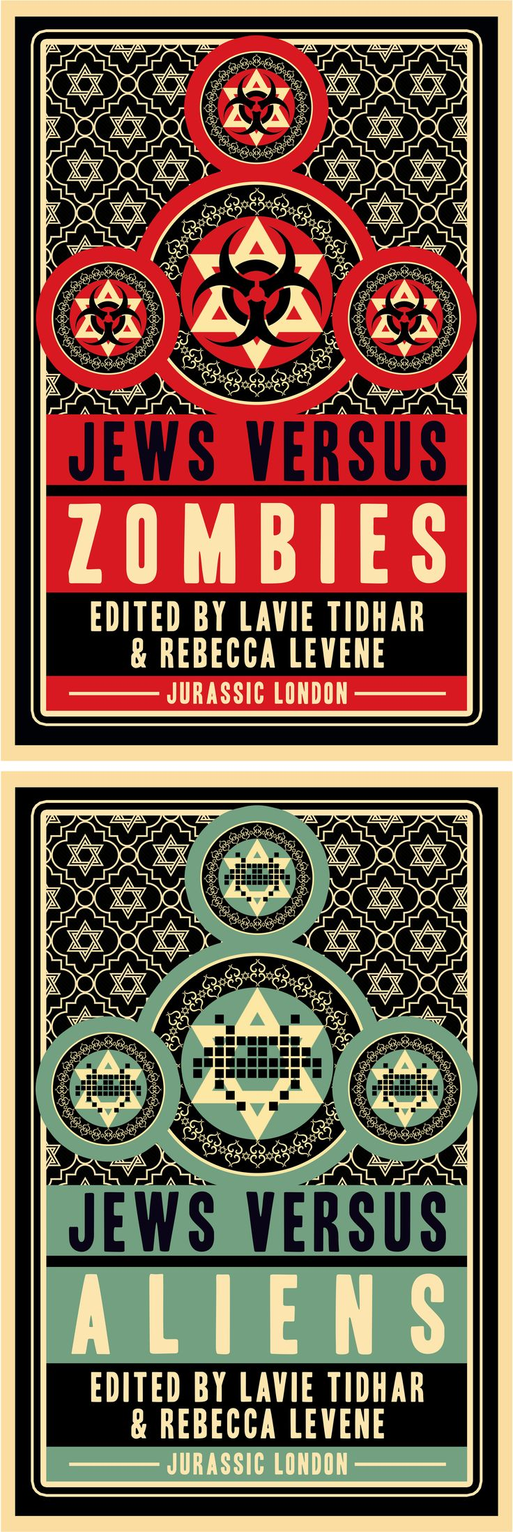 Jews Vs Zombies & Jews Vs Aliens. Edited by Lavie Tidhar & Rebecca Levene. Book cover design for Jurassic London.