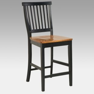 Black Counter Stool with Oak Finished Seat sale $105