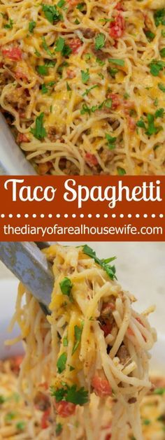 Easy Taco Spaghetti. My new favorite way to make spaghetti!! You are going to want to add this one to your menu list.